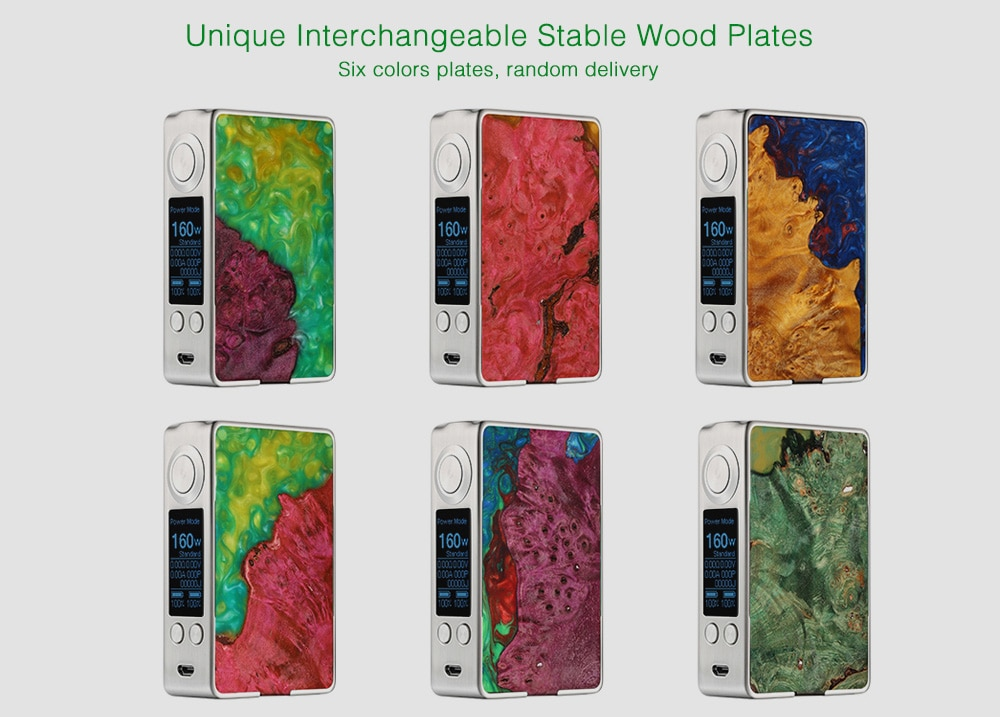 Aleader Funky 160W Stable Wood Box Mod with 200 - 600F / Supporting 2pc 18650 Batteries for E Cigarette 1pc- Colorful