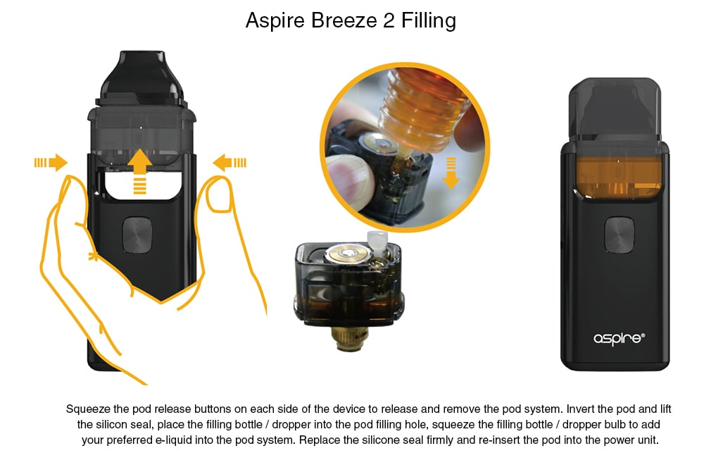 Aspire Breeze 2 AIO 3ml Kit with Built-in 1000mAh Li-ion Battery for E Cigarette- Gold