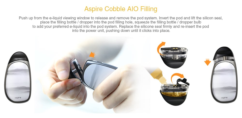 Aspire Cobble AIO Pod Kit with Built-in 700mAh Li-ion Battery- White
