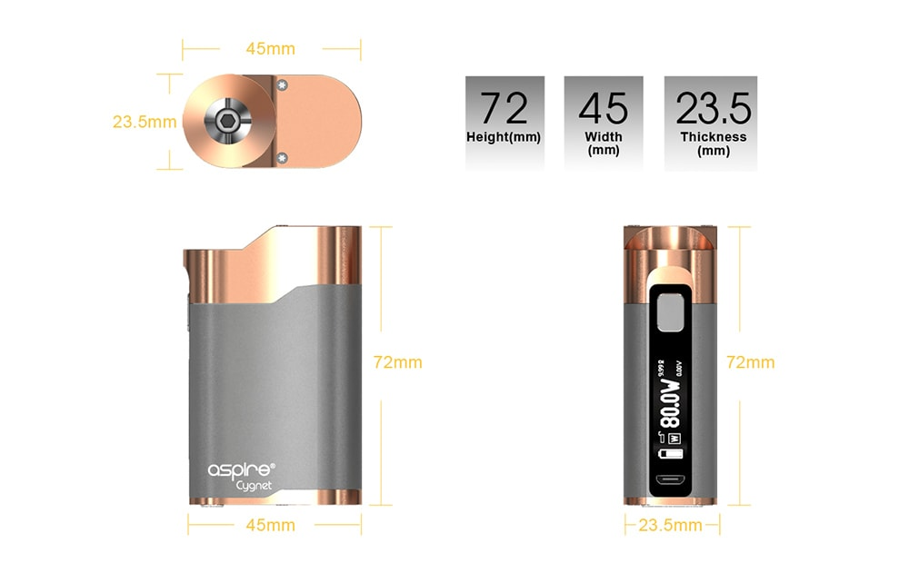 Aspire Cygnet 80W Mod Supporting 1pc 18650 Battery for E Cigarette- Cadillac Pink
