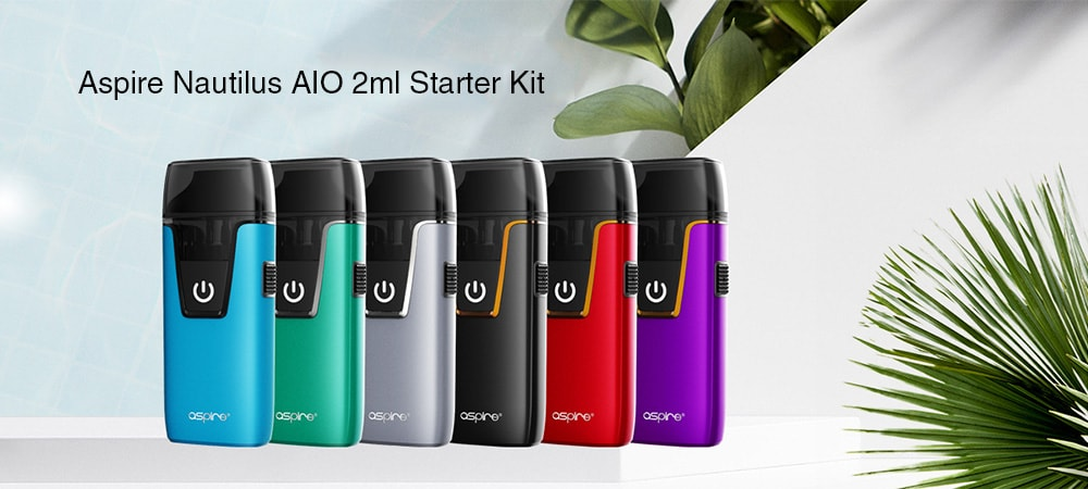 Aspire Nautilus AIO 2ml Starter Kit with Built-in 1000mAh Li-ion Battery- Black