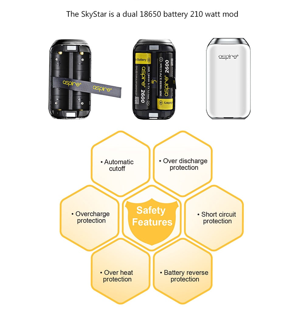 Aspire SkyStar 210W Mod with 200 - 600F / Supporting 2pcs 18650 Batteries for E Cigarette- Black