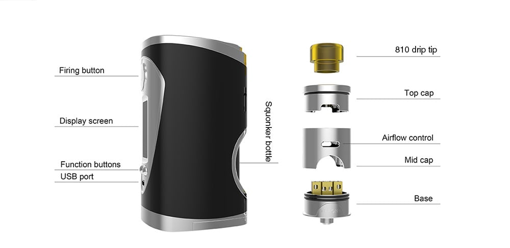 Avidvape Throne Squonker 200W Kit with 8ml Capacity for E Cigarette- Silver