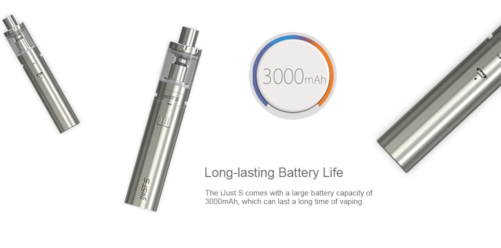 Eleaf iJust S Starter Kit with Built-in 3000mAh Li-ion Battery for E Cigarette- Silver