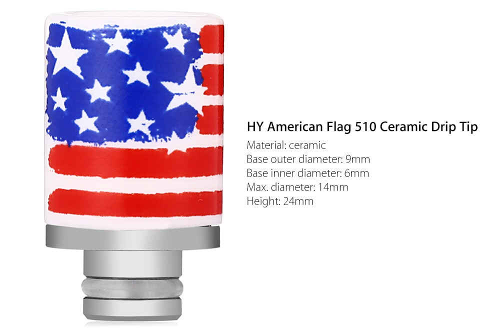 HY American Flag 510 Ceramic Drip Tip Replacement Mouthpiece E Cigarette Accessory- Red and white and blue