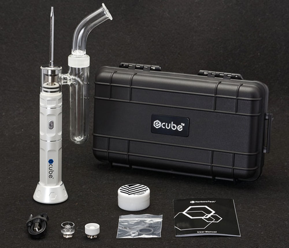 Kanborotech Ecube Dry Herb Electronic Cigarette Kit Powered by 18650 Battery- White