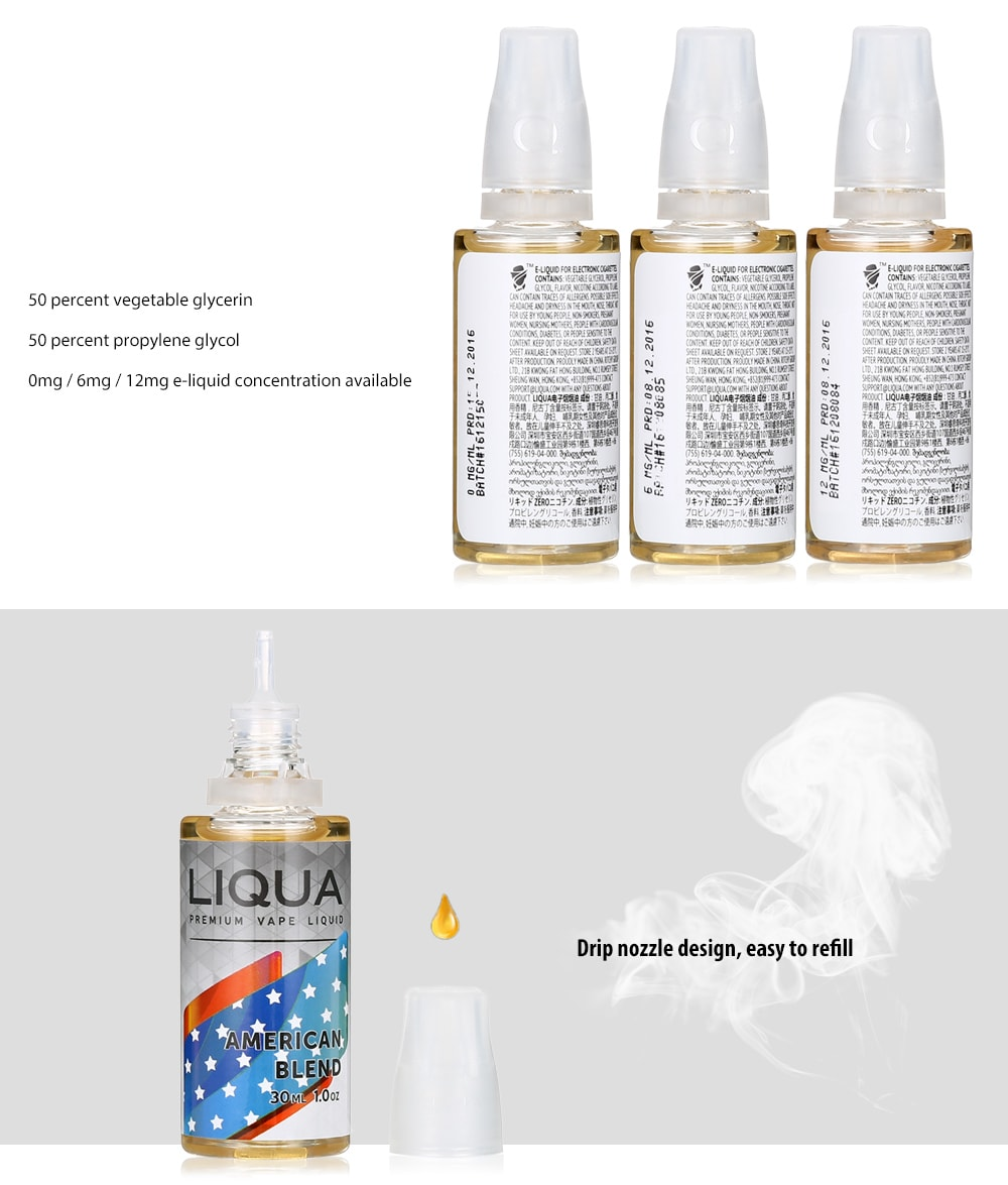 LIQUA Liqua C Series American Blend Style Flavor E Cig E-Juice E-Liquid- Transparent 6MG 30ML
