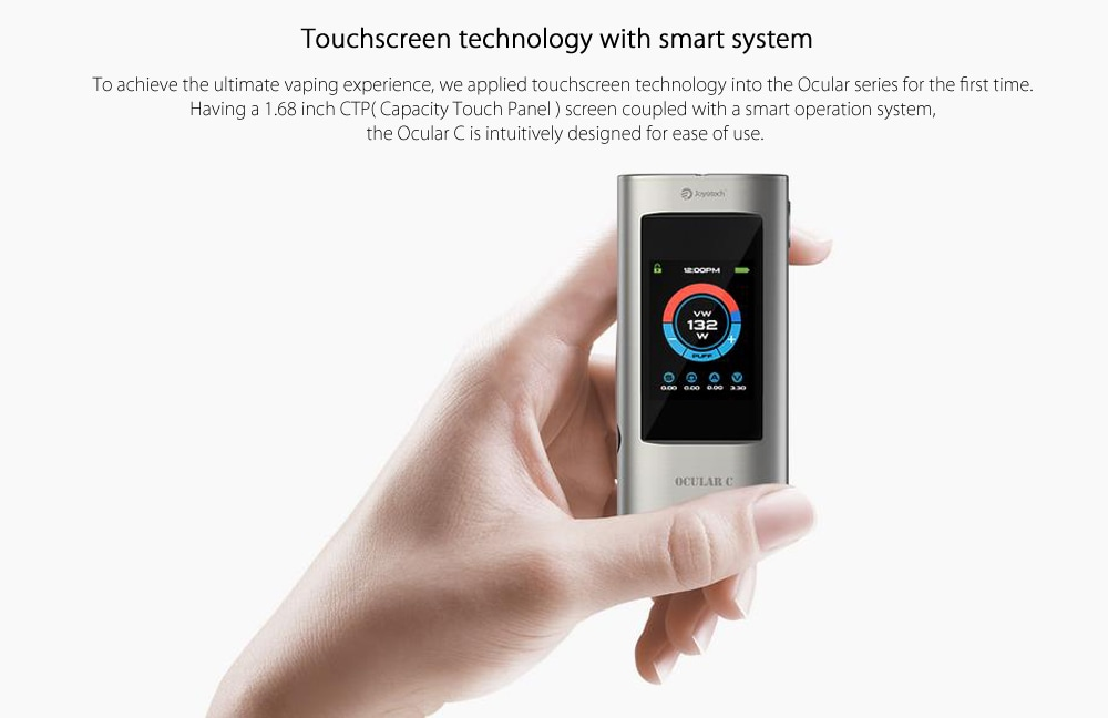 Original Joyetech OCULAR Touch Screen 80W TC Box Mod With Built-in 5000mAh Lithium-ion Battery for E Cigarette- Silver