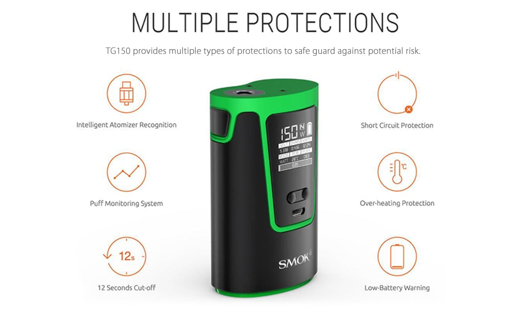 Original SMOK G150 TC Box Mod with 6 - 150W / 200 - 600F / 4200mAh Rechargeable Battery for E Cigarette- Green
