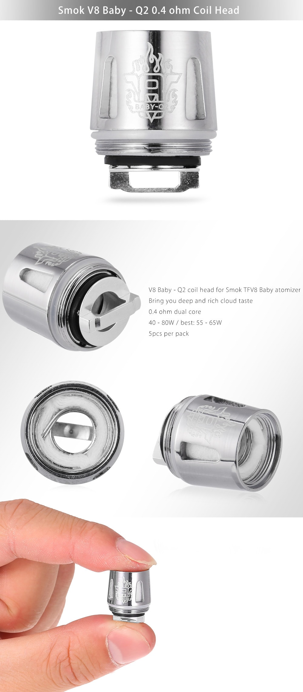Buy Original Smok V8 Baby Q2 0 4 Ohm Coil Head 5pcs Pack In Stock Ships Today