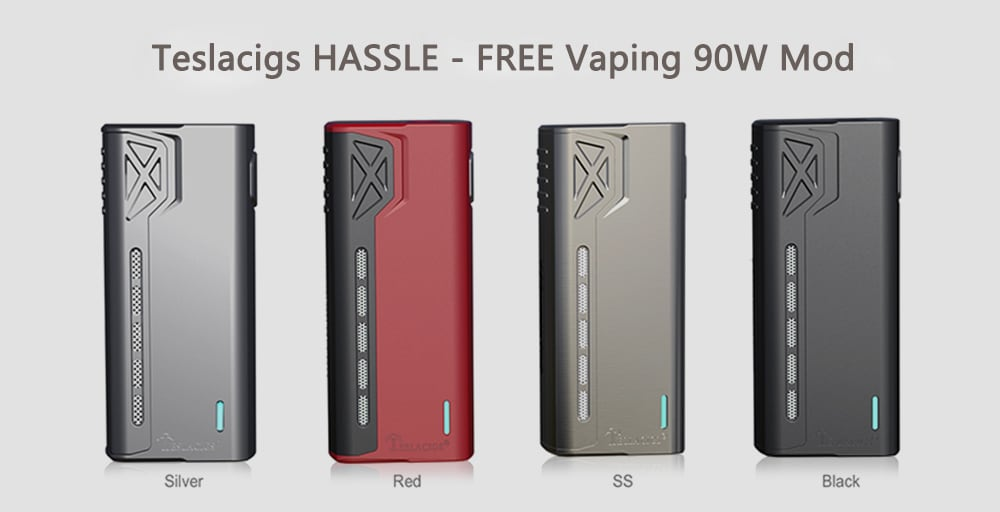 Original Teslacigs HASSLE - FREE Vaping 90W Mod Supporting 1pc 18650 Battery with 4.2V for E Cigarette- Silver