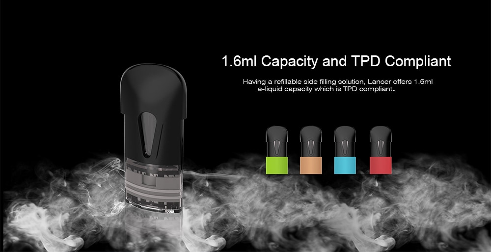 OVNS Lancer Pod Vape Kit with Built-in 400mAh Li-ion Battery for E Cigarette- Silver