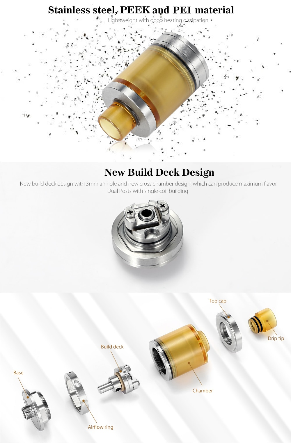 PICO V2 MTL RTA with Bottom Adjustable Airflow / Top Filling Design for E Cigarette- Stainless Steel