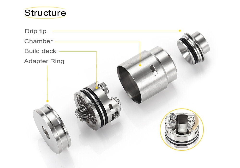 ST HA V3 Entheon RDA with 22mm Diameters for E Cigarette- Silver