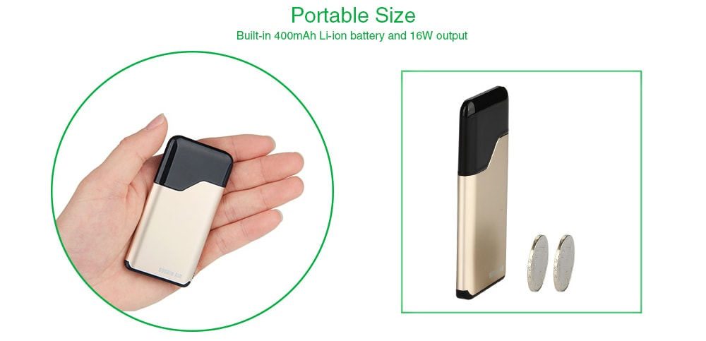 Suorin Air Pods Vape Starter Kit with Built-in 400mAh Li-ion Battery for E Cigarette- Black