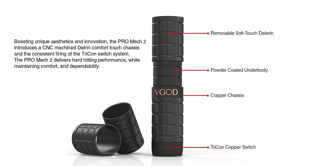 VGOD PRO MECH 2 Kit Supporting 1pc 18650 Battery- Gray Cloud