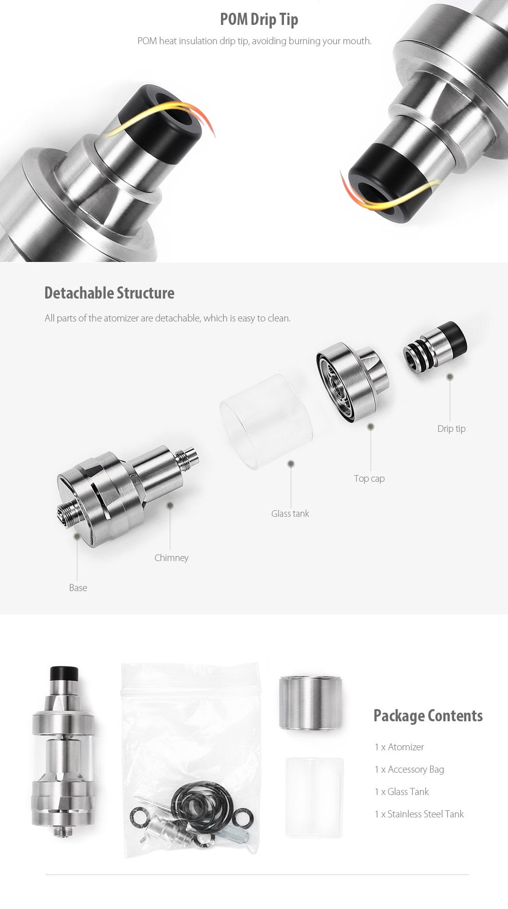 XHY 316SS K F P RTA with Top Filling / 2ml / 4ml for E Cigarette - Stainless Steel