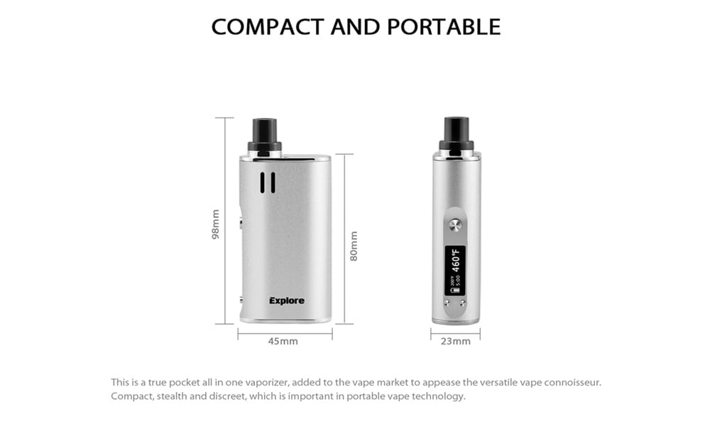 Yocan Explore Wax and Dry Herb 2-in-1 Vaporizer Kit with 2600mAh / 200 - 460F for E Cigarette- Black